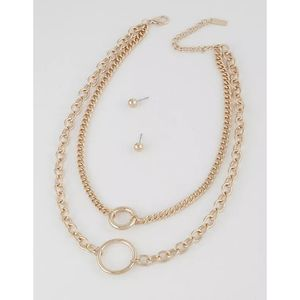 GOLD LOOK DOUBLE CHAIN NECKLACE SET